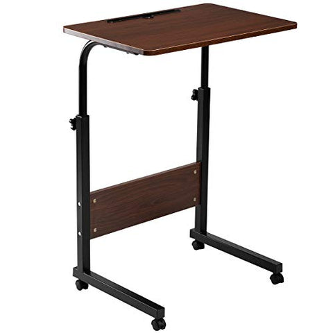 DOEWORKS Side Table, Adjustable Laptop Stand Portable Cart Tray Side Table, Cherry