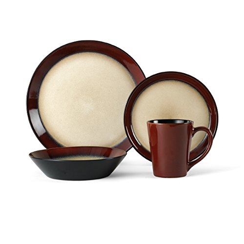 Pfaltzgraff Aria Red 16-Piece Stoneware Dinnerware Set, Service for 4