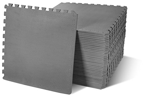 BalanceFrom Puzzle Exercise Mat with EVA Foam Interlocking Tiles, Gray, 144 sq. ft. (Pack of 36)
