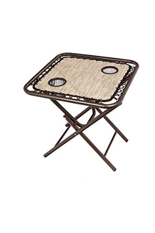 Slight Box damage. Bliss Hammocks GFC-TBL-S Foldable Camping Side Table with Cupholders, Sand