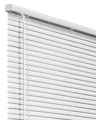 "CHICOLOGY Cordless 1-Inch Vinyl Mini Blinds, Horizontal Venetian Slat Light Filtering, Darkening Perfect for Kitchen/Bedroom/Living Room/Office and More, 23"" W X 60"" H, White (Commercial Grade)"