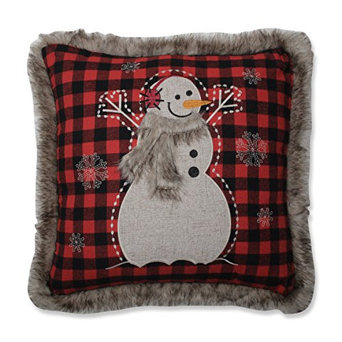 Pillow Perfect Fur Snowman Square Red/Black 18-inch Throw Pillow