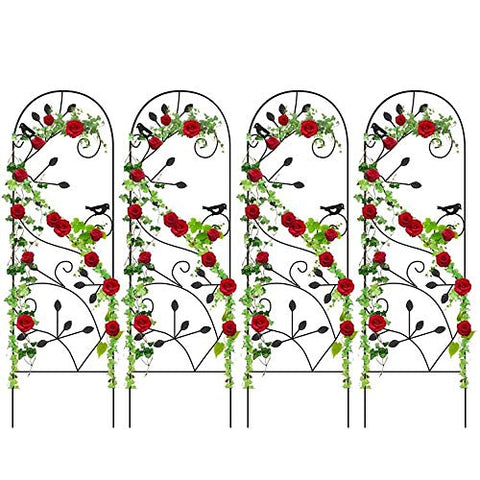 "Amagabeli 4 Pack Garden Trellis for Climbing Plants 46"" x 15"" Rustproof Sturdy Black Iron Trellis Plants Support Metal Trellis for Climbing Rose Vine Vegetable Flower Ivy Grape Cucumber Clematis GT02"