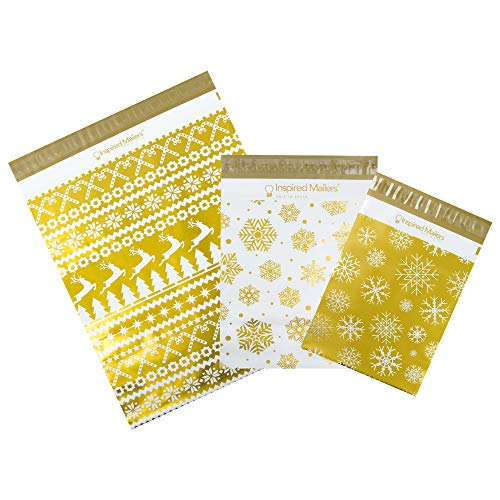 Inspired Mailers - Holiday Poly Mailers w/Writable Area Deluxe Gold Variety Pack of 30-10 Each:8.5x12 Snowflakes,10x13 Snowflakes,14.5x19 Christmas Sweater