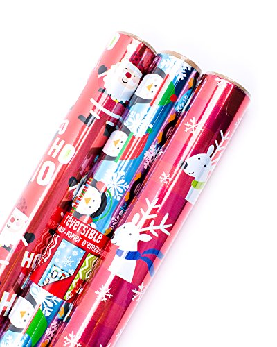 Hallmark Reversible Christmas Wrapping Paper Bundle (Pack of 3, 60 sq. ft. ttl.) Ho Ho Ho Foil, Penguins, Reindeer, Santa, Chevron