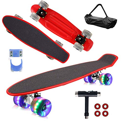 "Skateboard grip tape and carrying case only. Priced Accordingly. Geelife 22"" Complete Mini Cruiser Skateboard for Beginners Youths Teens Girls Boys with LED Wheels (Bright Red) …"