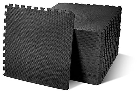 BalanceFrom Puzzle Exercise Mat with EVA Foam Interlocking Tiles, Black, 144 sq. ft.