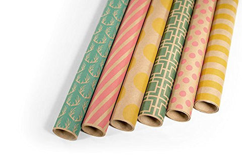 Note Card Cafe Bella Kraft All Occasion Wrapping Paper | 6 Pack | 30 x 120 inch Rolls | Green, Pink, Yellow | for Birthdays, Weddings, Showers, Gifts, Holidays. Christmas | Recyclable, Biodegradable