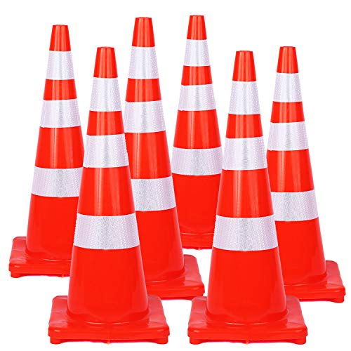 36 Inch Traffic Safety Cones 6Pack with Reflective Collars PVC Unbreakable Orange Construction for Home Building Road Driveway Parking