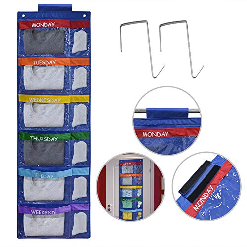 (Missing Hangers, Priced Accordingly) ABCKEY Rainbow Weekly Kids Clothes Organizer for Daily Activity,Portable Kids Clothes Storage with Two Hang Methods