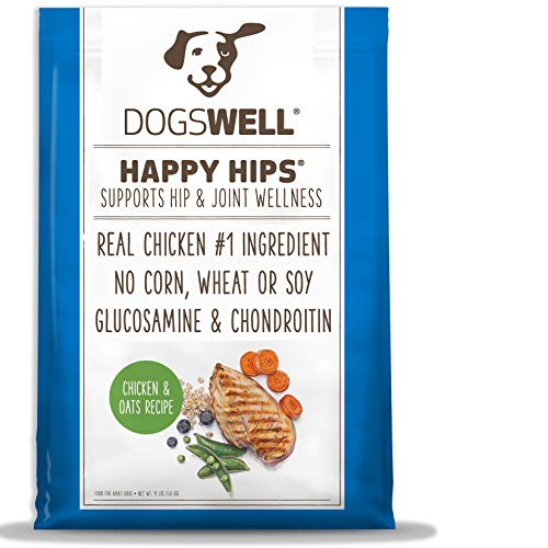DOGSWELL Happy Hips Dry Dog Food with Glucosamine & Chondroitin, Chicken & Oats Recipe, 11 lbs