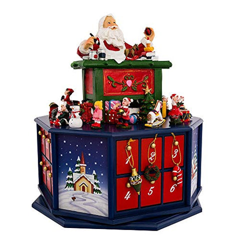 (Missing a few figurines, Priced Accordingly) Kurt Adler 12-Inch Santa Workshop Wind-Up Musical Advent Calendar (Renewed)