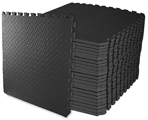 BalanceFrom Puzzle Exercise Mat with EVA Foam Interlocking Tiles (Black) (24 Sq Ft. )