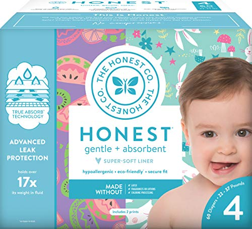 The Honest Company Club Box - Size 4 - Bunnies & Sliced Fruit Print with TrueAbsorb Technology | Plant-Derived Materials | Hypoallergenic | 60 Count