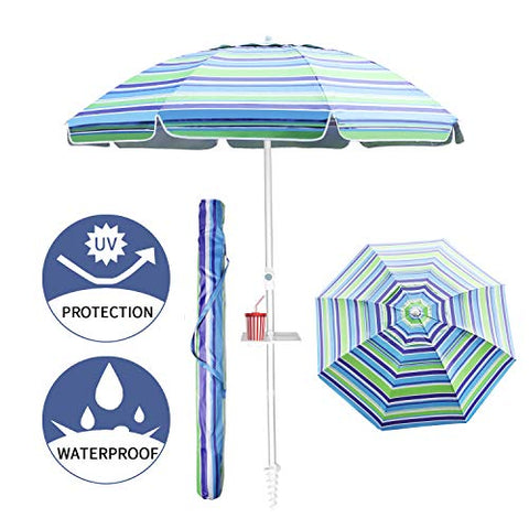 Aclumsy 7ft Beach Umbrella with Tilt Aluminum Pole and UPF 50+, Air Vents Design and Portable Sun Shelter for Sand and Outdoor Activities - Blue Green White Stripe