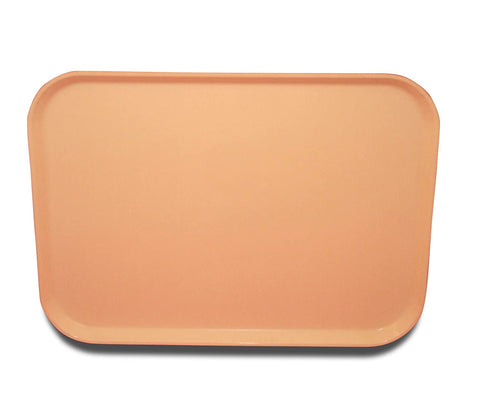 "Carlisle 4532FG016 Glasteel Solid Euronorm Tray 17-23/32"" x 12-19/32"" x 21/32"" - Peach. Case of 11"
