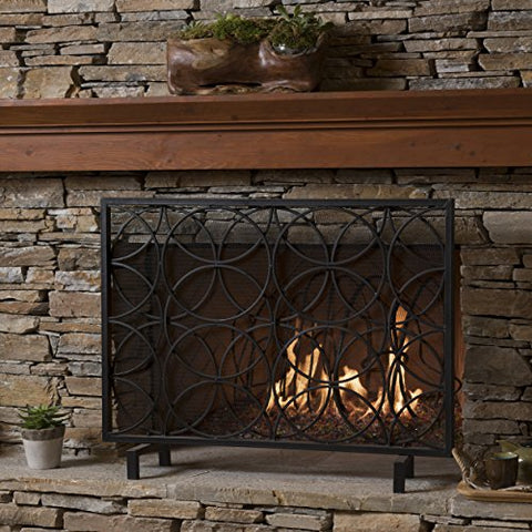 Christopher Knight Home Veritas Single Panel Black Iron Fireplace Screen
