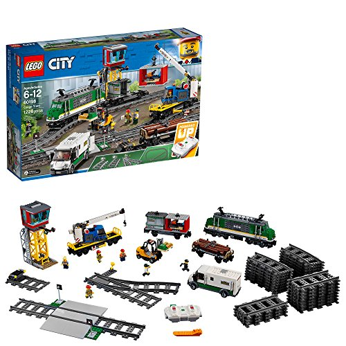 LEGO City Cargo Train 60198 Remote Control Train Building Set with Tracks for Kids, Top Present for Boys and Girls (1226 Pieces) - Slight Box Damage
