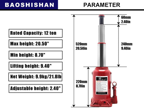 "BAOSHISHAN 12 Ton Double Ram Bottle Jack 8-5/8"" to 20-1/2"" Lifting Range Hydraulic Bottle Jack"