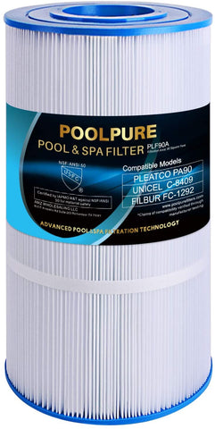 POOLPURE PLF90A Replacement Filter for Hayward C900, CX900RE, Pleatco PA90, Unicel C-8409, Filbur FC-1292, Sta-Rite PXC95, Clearwater II ProClean 100, Waterway PCCF-100, 90 sq.ft Cartridge, Pack of 1