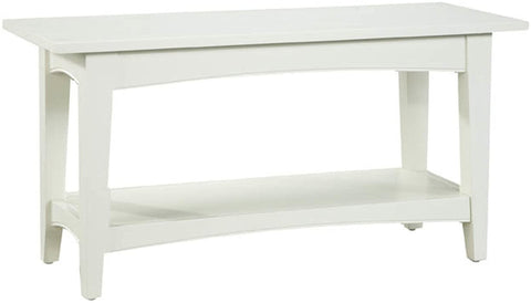 Shaker Cottage Bench with Open Shelf, Ivory