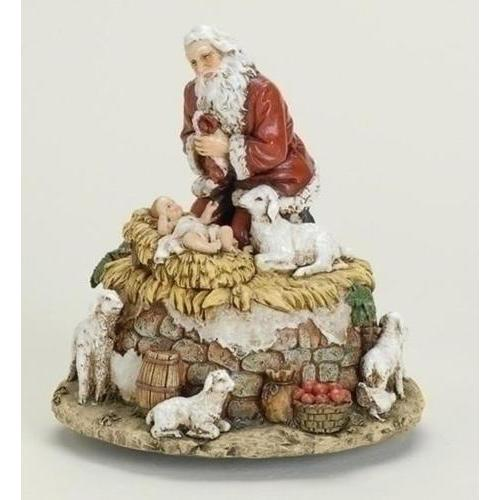 "6 ""Joseph's Studio Kneeling Santa with Jesus Musical Christmas Figure"