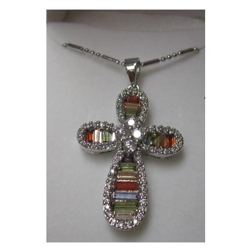 "Rhodium Plated Cross Pendant with Multi Color Baguette CZ on 18"" Chain in a Gift Box"