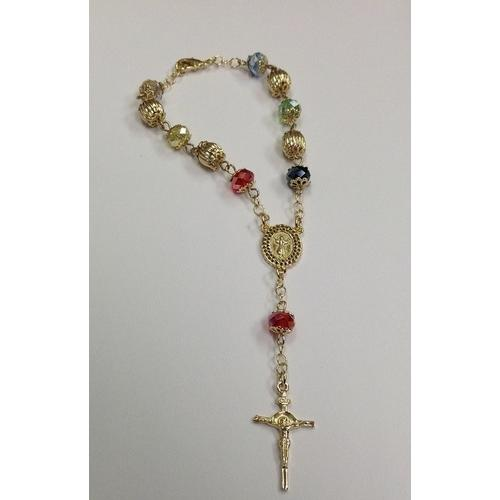 "Gold Electroplated 7 1/2"" Rosary Bracelet with Multicolored Crystals in a Red Pouch"