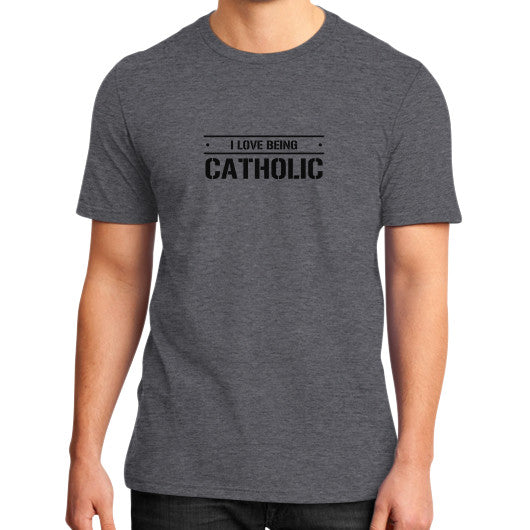 District T-Shirt (on man) Heather charcoal iwannabeasaint