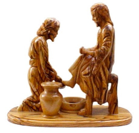 Jesus Washes Peter's Feet Olive Wood Carving