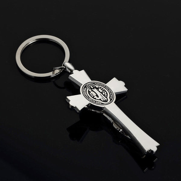 Silver-Toned Crucifix Keychain