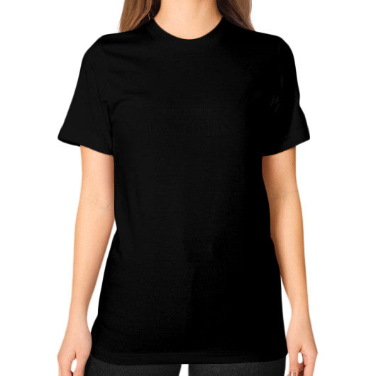 Unisex T-Shirt (on woman) Black iwannabeasaint