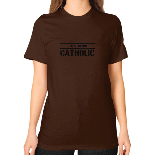 Unisex T-Shirt (on woman) Brown iwannabeasaint