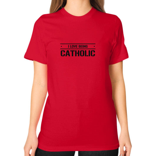 Unisex T-Shirt (on woman) Red iwannabeasaint