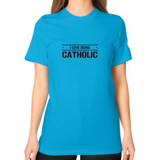 Unisex T-Shirt (on woman) Teal iwannabeasaint