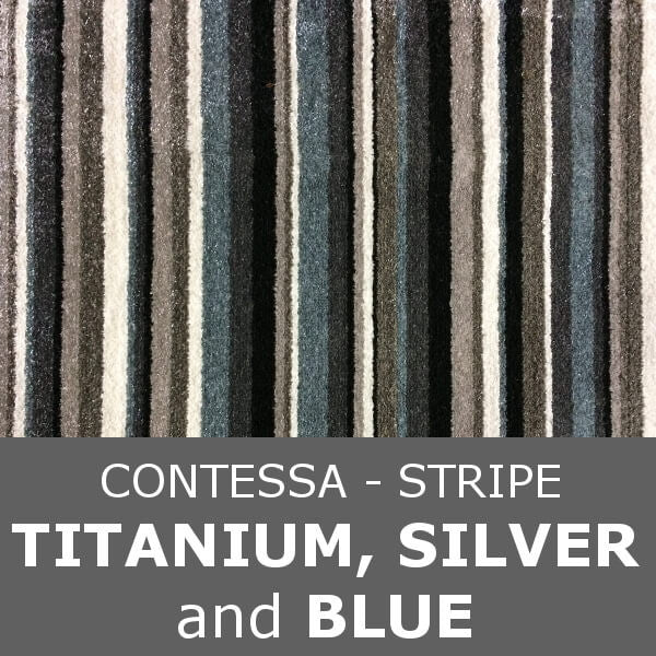 Signature - Contessa Stripe - Titanium Silver & Blue