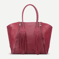 Functional compartmented leather Tote handbag