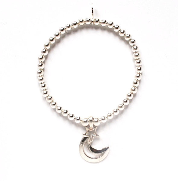 Sterling silver moon and star bracelet