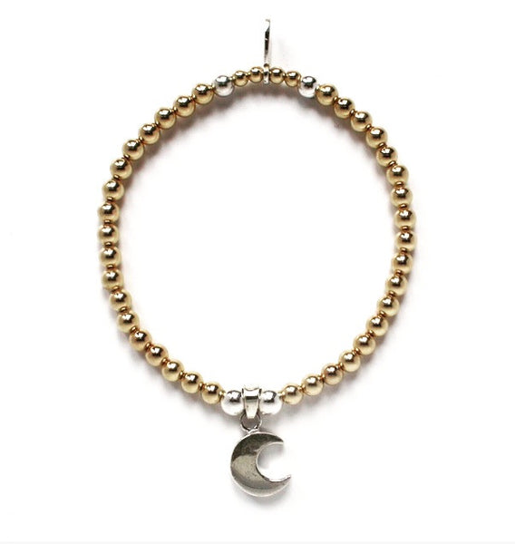 Yellow gold and sterling silver cute moon charm bracelet