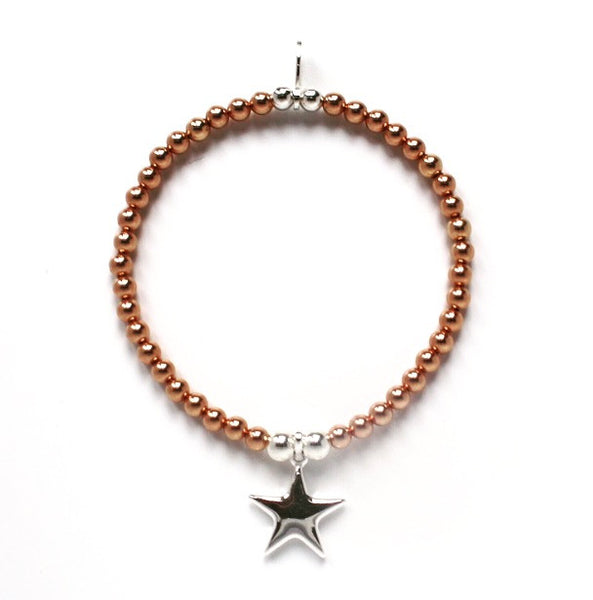 Rose gold and sterling silver cute star bracelet