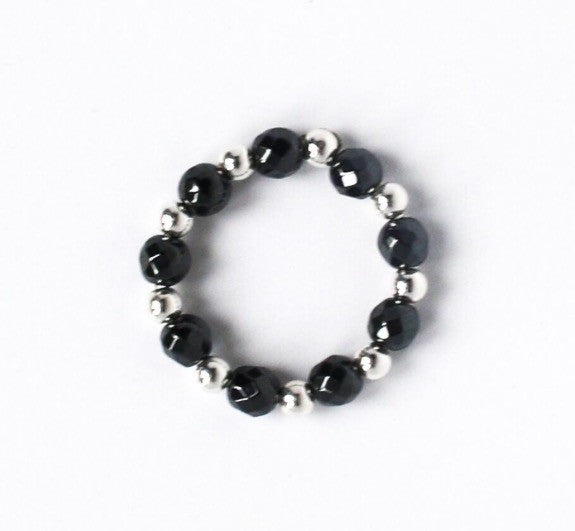 Hematite and sterling silver beaded ring