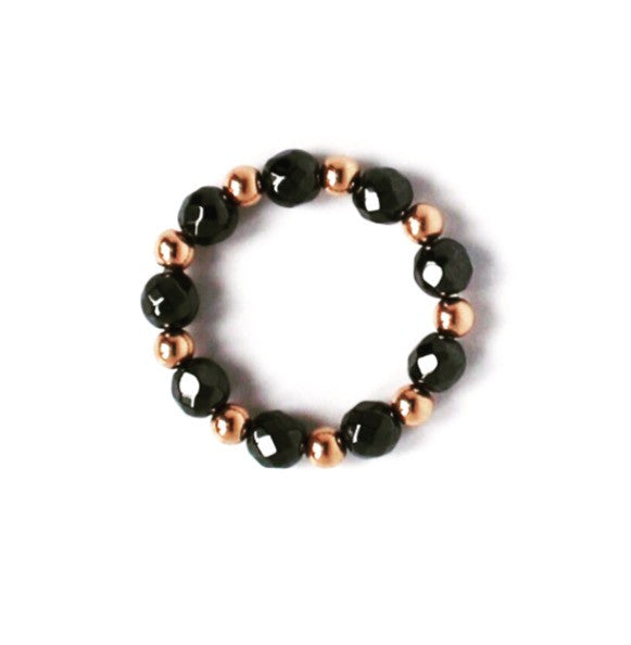 Hematite and rose gold beaded ring