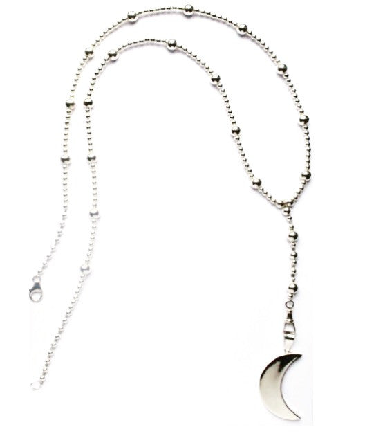 Sterling silver rosary beaded necklace with large moon pendant