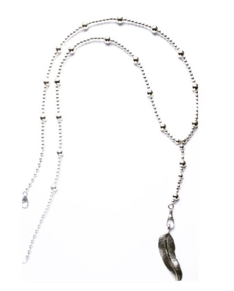 Sterling silver rosary beaded necklace with large feather pendant