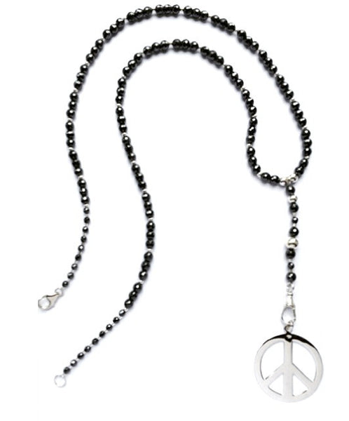 Hematite and sterling silver beaded rosary necklace