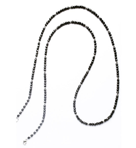 Hematite and sterling silver long beaded necklace