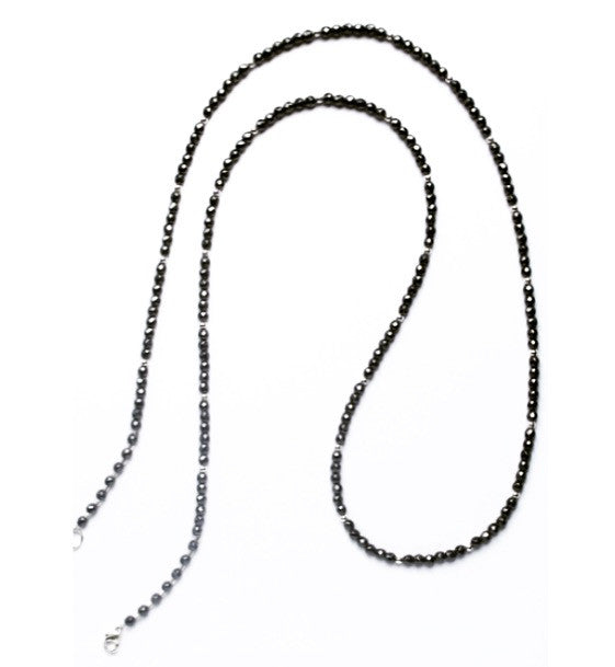 Hematite and sterling silver extra long beaded necklace