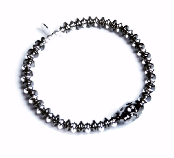 Men's sterling silver and hematite crystal skull bracelet