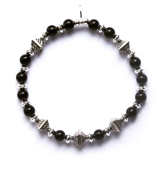 Mens black onyx and sterling silver funky bracelet