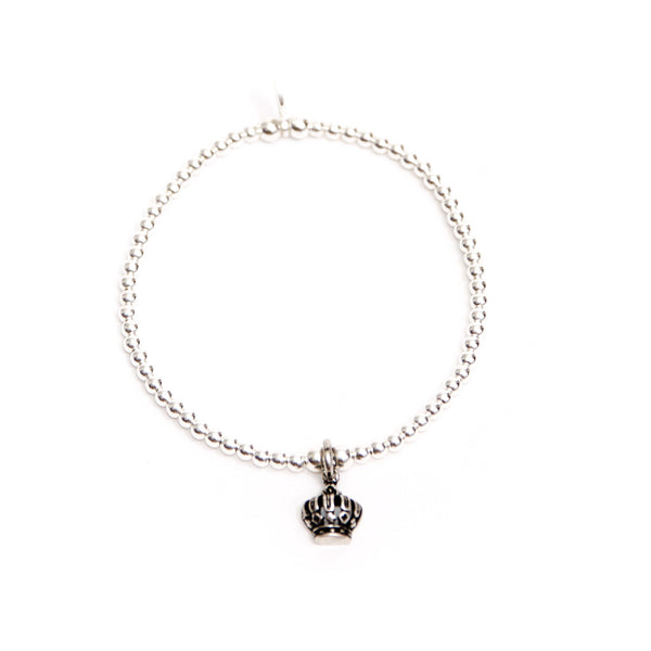 Dainty sterling silver princess crown charm bracelet